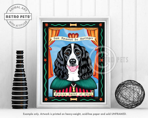 "Springer Spaniel Art - B/W ""Patron Saint of Play"" Art Print by Krista Brooks"