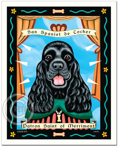 "Cocker Spaniel Art ""Patron Saint of Merriment"" Art Print by Krista Brooks"