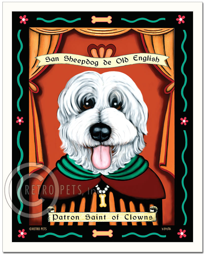 "Old English Sheepdog Art ""Patron Saint of Clowns"" Art Print by Krista Brooks"