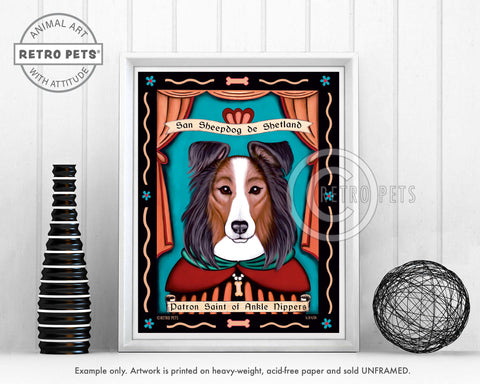 "Shetland Sheepdog Art ""Saint of Ankle Nippers"" Art Print by Krista Brooks"