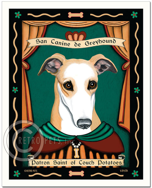 "Greyhound Art ""Patron Saint of Couch Potatoes"" Art Print by Krista Brooks"