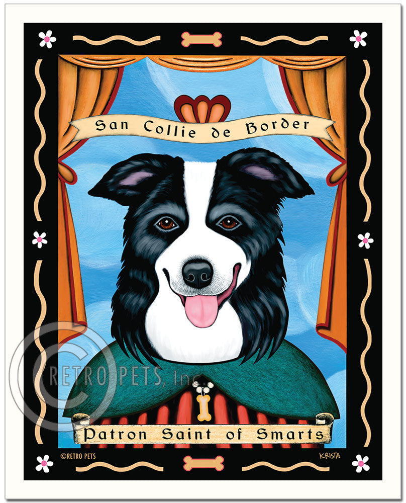 "Border Collie Art ""Patron Saint of Smarts"" Art Print by Krista Brooks"