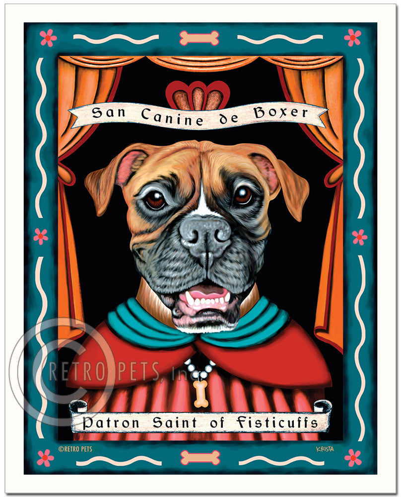 "Boxer Art ""Patron Saint of Fisticuffs"" Art Print by Krista Brooks"