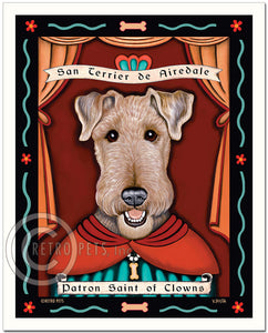 "Airedale Terrier Art ""Patron Saint of Clowns"" Art Print by Krista Brooks"