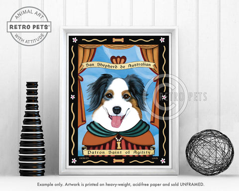"Australian Shepherd Art - Blue Merle ""Patron Saint of Agility"" Art Print by Krista Brooks"