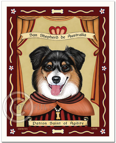 "Australian Shepherd Art - Tri-color ""Patron Saint of Agility"" Art Print by Krista Brooks"