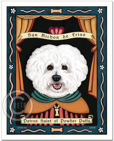 "Bichon Frise Art ""Patron Saint of Powder Puffs"" Art Print by Krista Brooks"