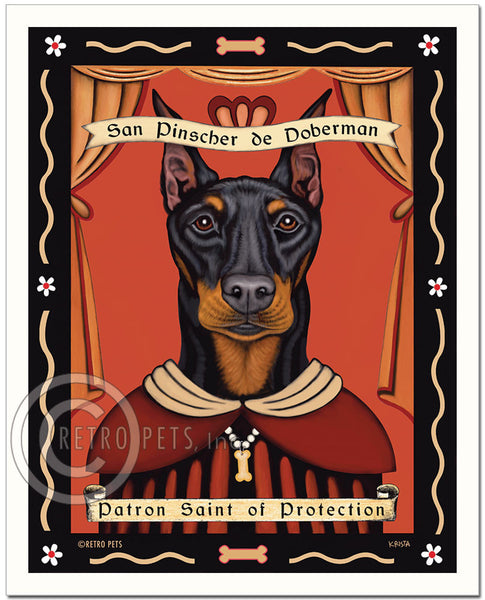 "Doberman Pinscher Art ""Patron Saint of Protection"" Art Print by Krista Brooks"