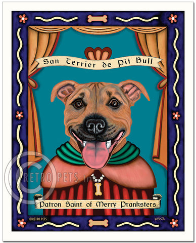 "Pit Bull Terrier Art ""Saint of Merry Pranksters"" Art Print by Krista Brooks"