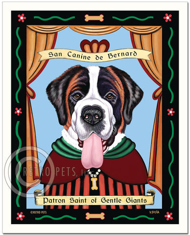 "Saint Bernard Art ""Saint of Gentle Giants"" Patron Pooch Art Print by Krista Brooks"
