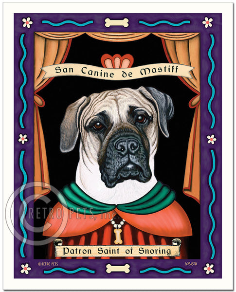 "Mastiff Art ""Patron Saint of Snoring"" Art Print by Krista Brooks"
