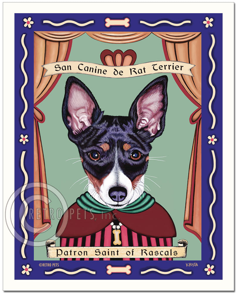 "Rat Terrier Art ""Patron Saint of Rascals"" Patron Pooch Art Print by Krista Brooks"