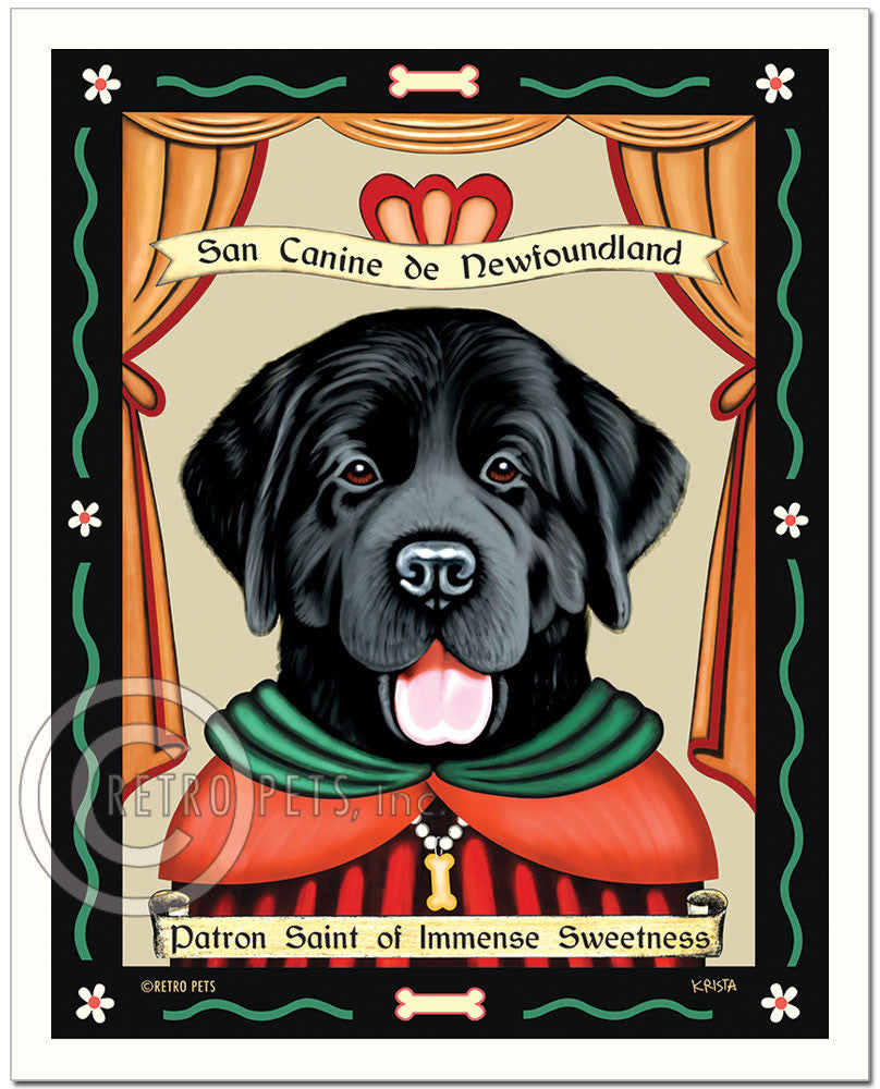 "Newfoundland Art - Black ""Patron Saint of Immense Sweetness"" Art Print by Krista Brooks"