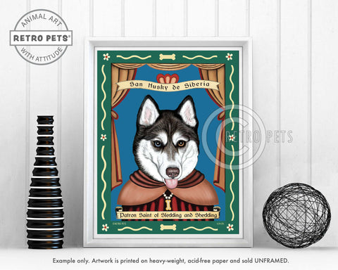 "Siberian Husky Art - Blue/Brown Eyes ""Saint of Sledding & Shedding"" Art Print by Krista Brooks"