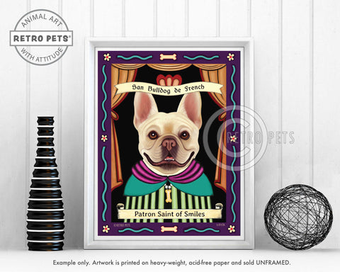 "French Bulldog Art (Buff) ""Patron Saint of Smiles"" Art Print by Krista Brooks"