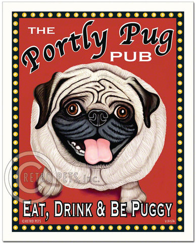 "Pug Art ""The Portly Pug Pub"" Art Print by Krista Brooks"