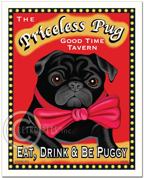 "Pug Art ""The Priceless Pug"" Art Print by Krista Brooks"