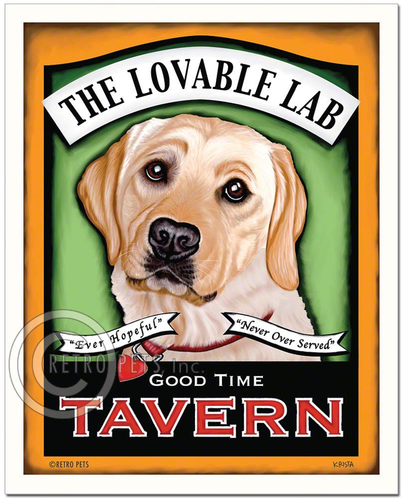 "Labrador Retriever Art ""Lovable Lab Tavern"" Art Print by Krista Brooks"