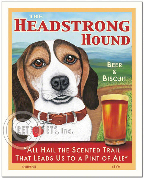 "Beagle Art - Tri-color ""The Headstrong Hound"" Art Print by Krista Brooks"