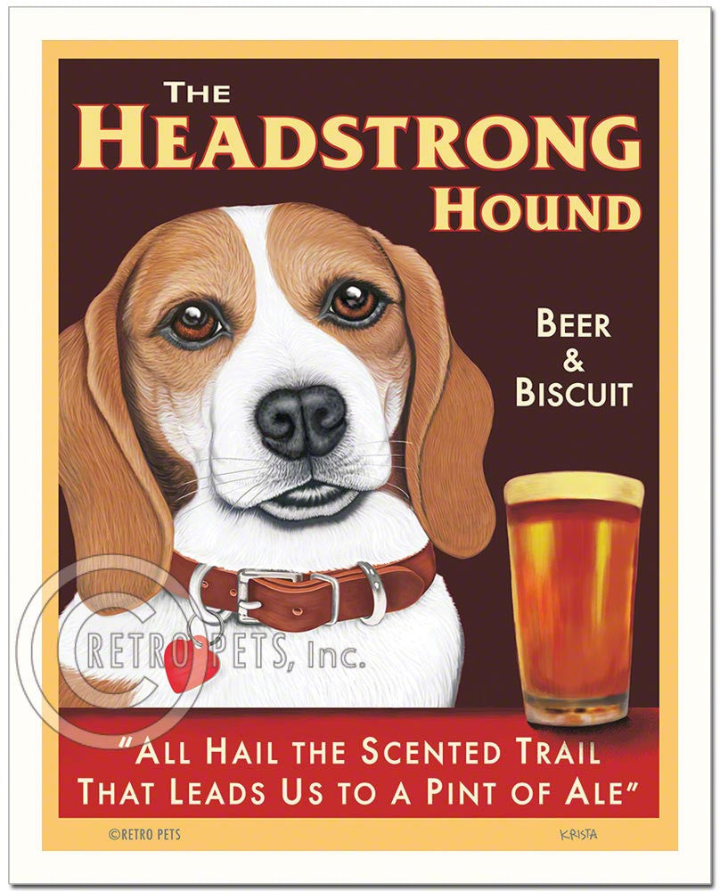 "Beagle Art - Tan/White ""The Headstrong Hound"" Art Print by Krista Brooks"