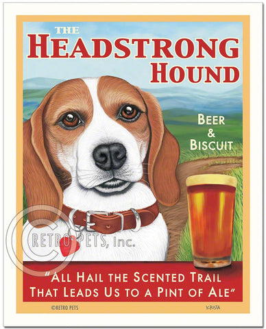 "Beagle Art - Red/White ""The Headstrong Hound"" Art Print by Krista Brooks"