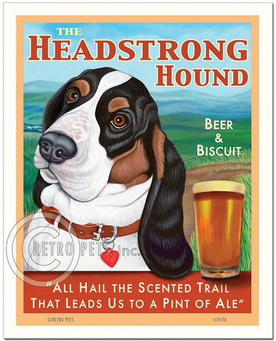 "Basset Hound Art - Tri-color ""The Headstrong Hound"" Art Print by Krista Brooks"