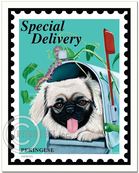 "Pekingese Art ""Special Delivery Pekingese"" Art Print by Krista Brooks"