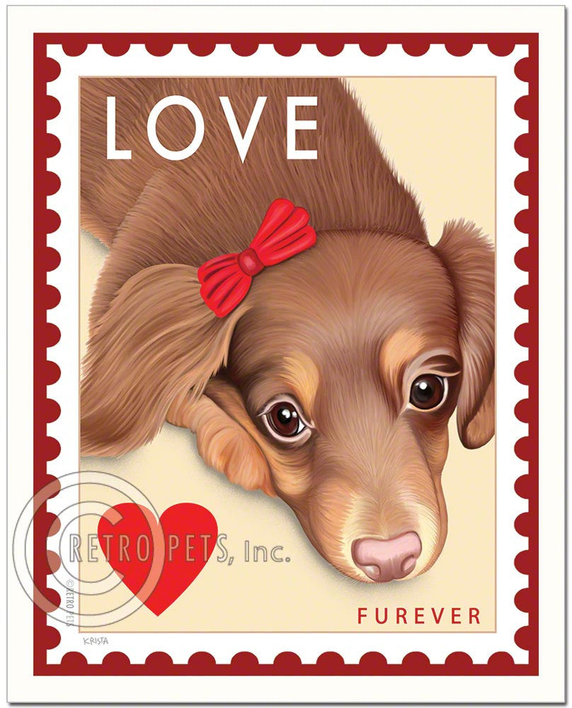 "Dachshund Art ""Doxie LOVE Stamp Furever"" Art Print by Krista Brooks"