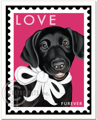 "Labrador Puppy Art ""Black Lab LOVE Furever Stamp"" Art Print by Krista Brooks"