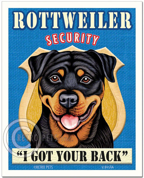 "Rottweiler Art ""Rottweiler Security"" Art Print by Krista Brooks"