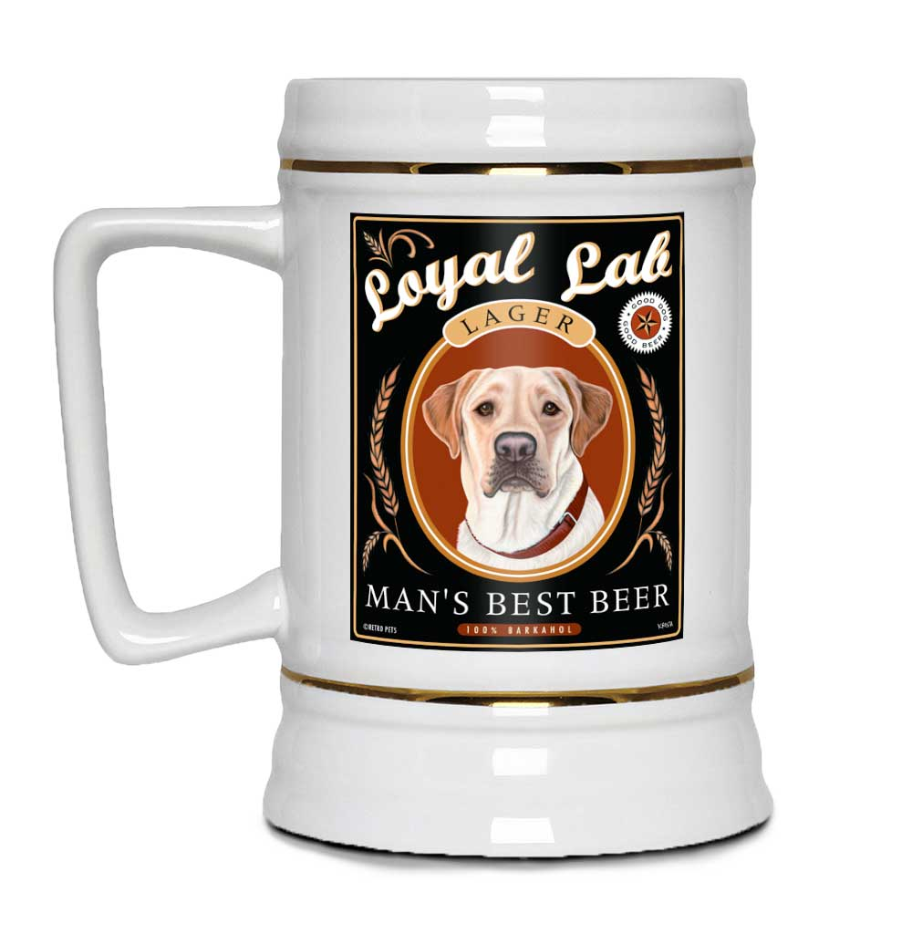 "Labrador Retriever Art ""Man's Best Beer"" 22oz. Beer Stein"