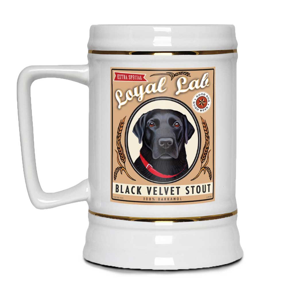 "Labrador Retriever Art ""Black Velvet Stout"" 22oz. Beer Stein"