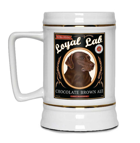 "Labrador Retriever Art ""Chocolate Brown Ale"" 22oz. Beer Stein"