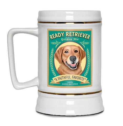 "Golden Retriever Art ""Ready Retriever Golden Ale"" 22oz. Beer Stein"