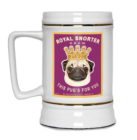 "Pug Art ""Royal Snorter Brew - This Pug's For You!"" 22oz. Beer Stein"
