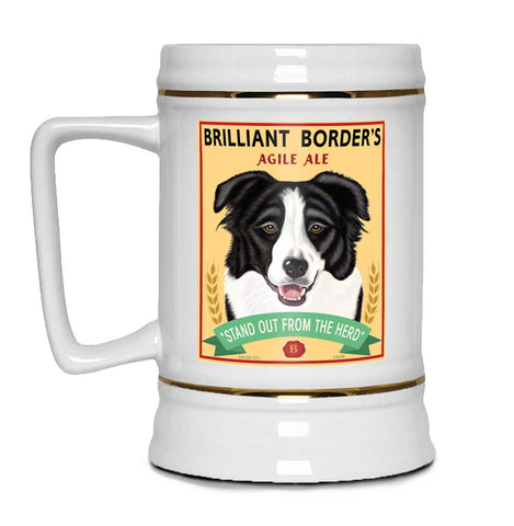 border collie art, border collie beer, beer stein, gift for border collie lover