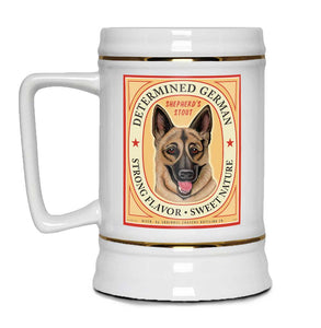 "German Shepherd Art ""Determined German"" 22oz. Beer Stein"