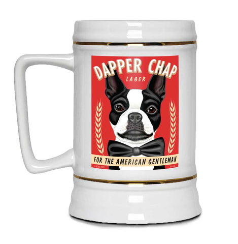 boston terrier art, boston terrier beer, boston beer, beer stein, dog beer