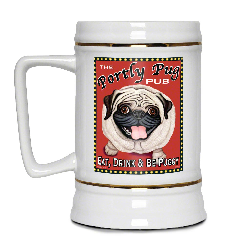 "Pug Art ""Portly Pug Pub"" 22oz. Beer Stein"