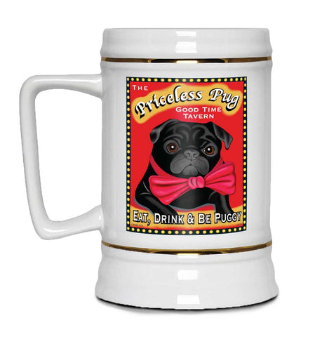 "Pug Art ""The Priceless Pug"" Beer Stein, 22 oz."