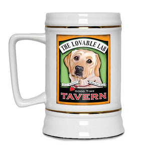 Labrador lover gift, Labrador Retriever beer stein, yellow lab art, beer hound,
