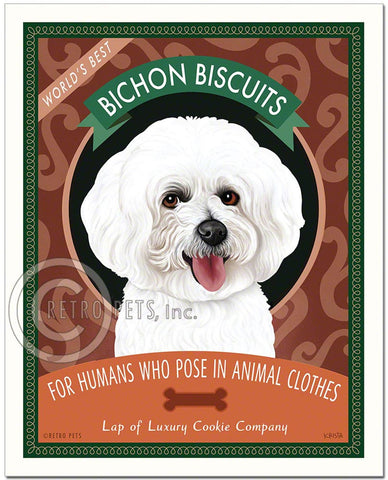 "Bichon Frise Art ""Bichon Biscuits"" Art Print by Krista Brooks"