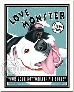"Pit Bull Terrier Art ""Love Monster Treats"" Art Print by Krista Brooks"