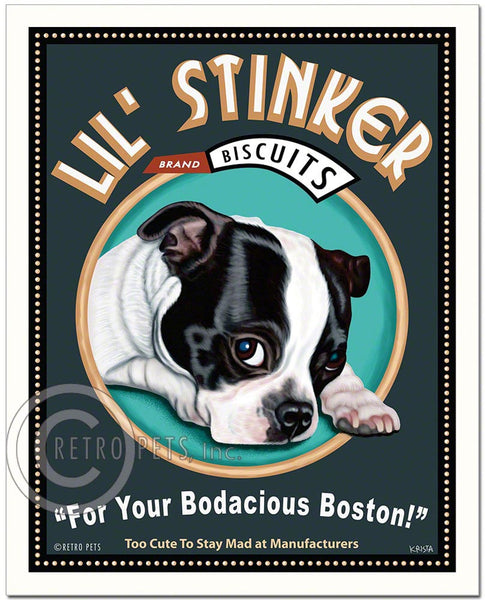 "Boston Terrier Art ""Lil' Stinker"" Art Print by Krista Brooks"