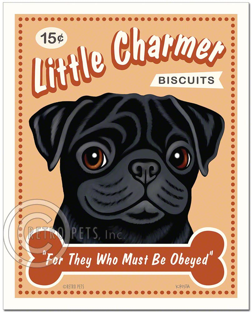 "Pug Art ""Little Charmer"" Faux Treat Label Art Print by Krista Brooks"
