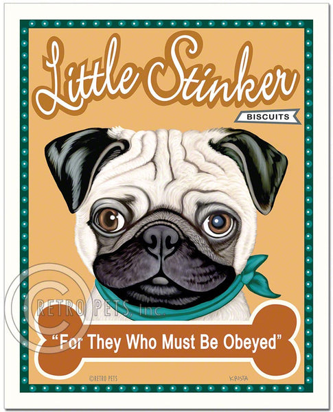 "Pug Art ""Little Stinker"" Faux Treat Label Art Print by Krista Brooks"