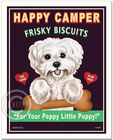 "Maltese Art ""Happy Camper Frisky Biscuits"" Art Print by Krista Brooks"