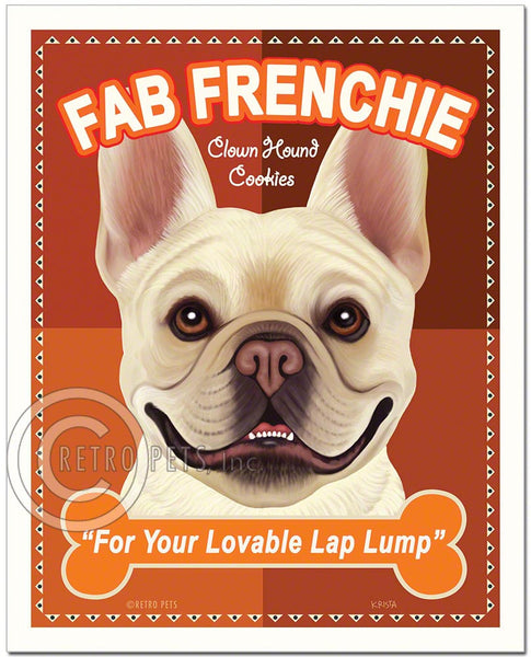 "French Bulldog Art ""Fab Frenchie Clown Hound Cookies"" Art Print by Krista Brooks"