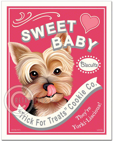 "Yorkshire Terrier Art ""Sweet baby"" Faux Treats Art Print by Krista Brooks"