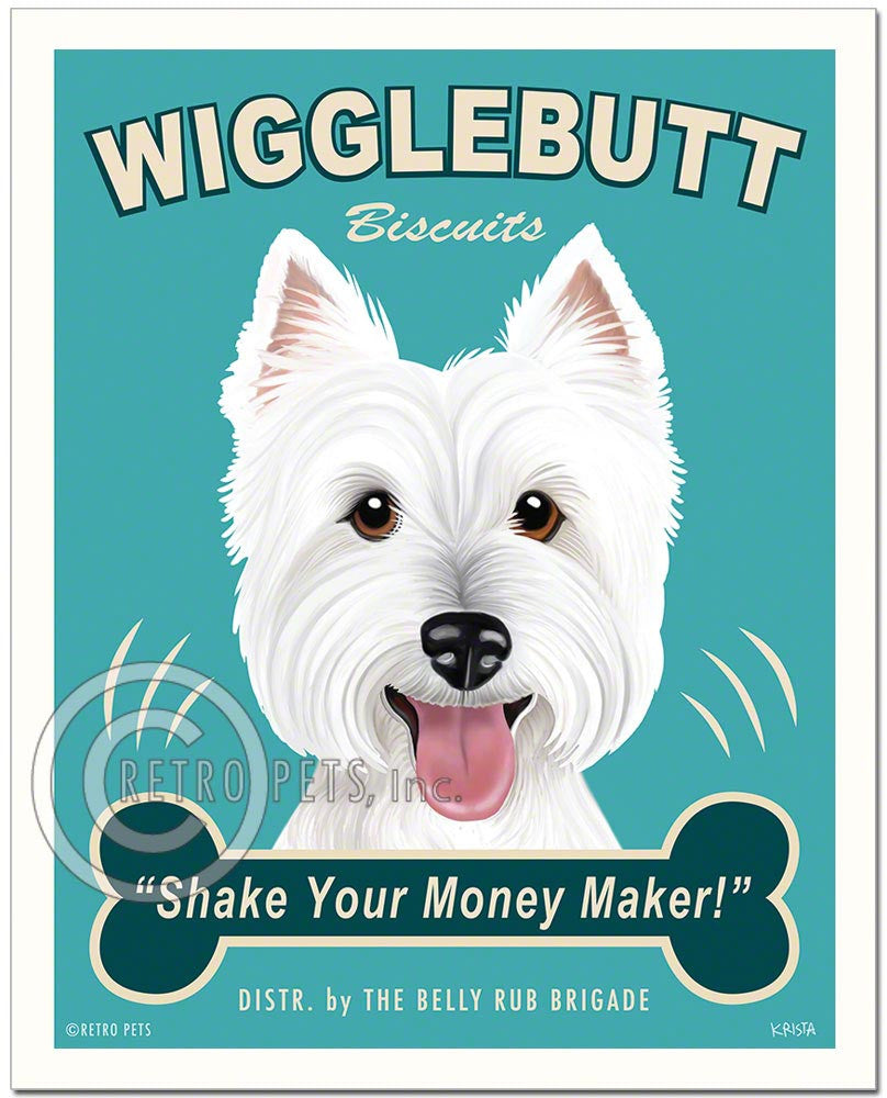 "Westie Art ""Wigglebutt Westie"" Faux Treat Art Print by Krista Brooks"